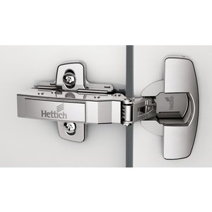 Sensys 110° hinge with integrated Silent System (Sensys 8645i), nickel plated, overlay, Opening angle 110°, drilling pattern TH 52 x 5,5 mm, For screwing on (-)